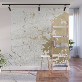 Boston White and Gold Map Wall Mural