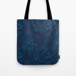 Blue Strawberry Leaves Tote Bag