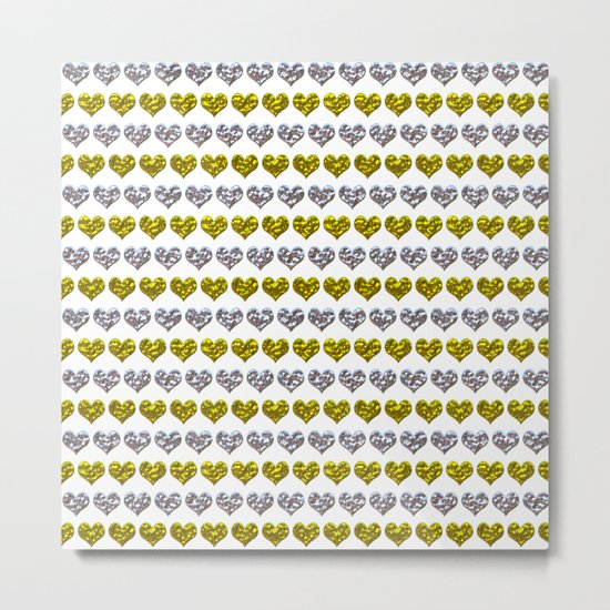 Silver and Gold Hearts Pattern Metal Print
