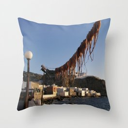 Octopus Drying In Nyssiros Throw Pillow