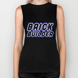 BRICK BUILDER in Brick Font Logo Design [Alternate Colors] by Chillee Wilson Biker Tank