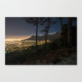 Cape Town city and Table Mountain at night Canvas Print