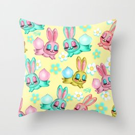 Bunnies and Daisies on Yellow Throw Pillow