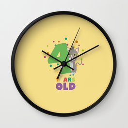 Four Years fourth Birthday Party Cat D0sab Wall Clock