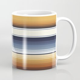 Indigo Blue, Amber Brown and Navajo White Southwest Serape Blanket Stripes Coffee Mug