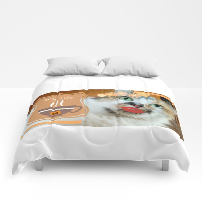 PSL Life Cat Basic Pumpkin Spice Latte Kitty Comforters
