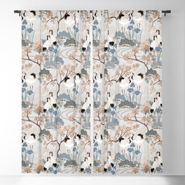 Japanese Garden Gray Blackout Curtain