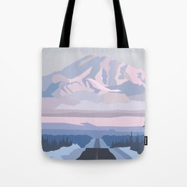 On the way to snowy mountain, minimalism in nature. Tote Bag