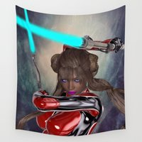 sword Wall Tapestries featuring Light Sword Girl by Brian Raggatt