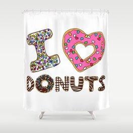 I LOVE DONUTS Shower Curtain