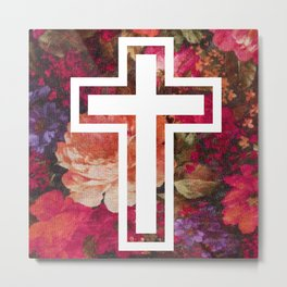 Flower Cross Metal Print