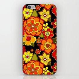 Super groovy flowers Black base orange iPhone Skin