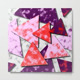 Triangles Layered Pattern in Red Purple and Pink Metal Print