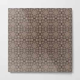 Warm Taupe Geometric Metal Print