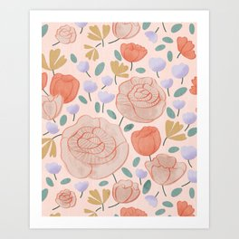 Floral Pattern Pink Art Print