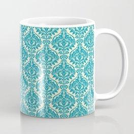 Teal and Ecru Damask Coffee Mug