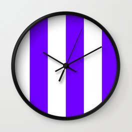 Wide Vertical Stripes - White and Indigo Violet Wall Clock