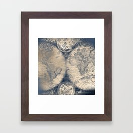 Antique World Map White Gold Navy Blue by Nature Magick Framed Art Print