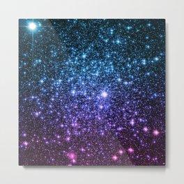 Galaxy Stars : Teal Violet Pink Ombre Metal Print