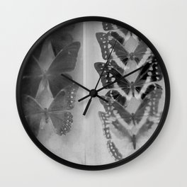 Case of Butterflies in Black and White Wall Clock
