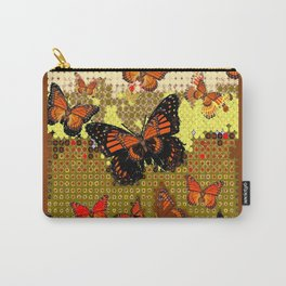 Coffee Brown Abstracted Black & Orange Monarch Butterflies Carry-All Pouch