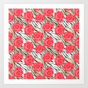 Red roses on a light tiger background . by fuzzyfox85