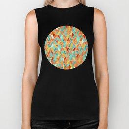 Tangerine & Turquoise Geometric Tile Pattern Biker Tank