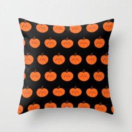Kawaii Pumpkin Pattern (black) Throw Pillow