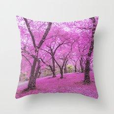 New York City Springtime Cherry Blossoms Throw Pillow