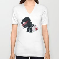 winter soldier V-neck T-shirts featuring Winter Soldier  by Charleighkat