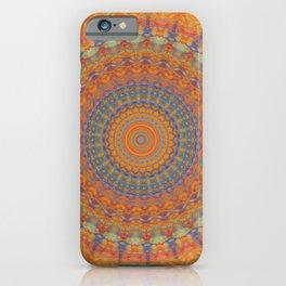 Bright Orange Blue Mandala iPhone Case