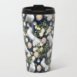 White Doves and Roses Travel Mug