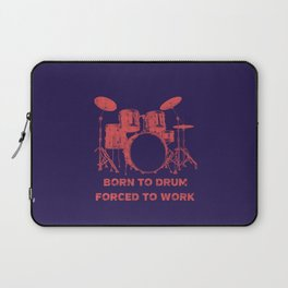 Born To Drum Forced To Work Funny Drums Vintage Drummer Distressed Laptop Sleeve
