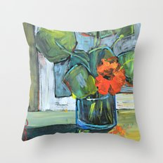 Bloom in a Blue Vase Throw Pillow