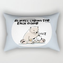 Little Hunterman – Always Caring for Each Other /white circle on blue Rectangular Pillow