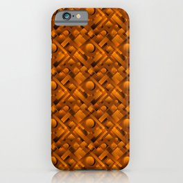 Volumetric design with interlaced circles and bronze rectangles of stripes. iPhone Case