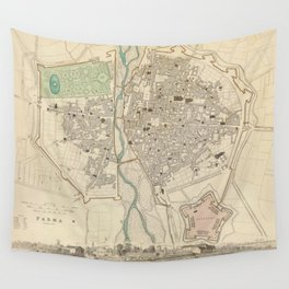 Vintage Map of Parma Italy (1840) Wall Tapestry