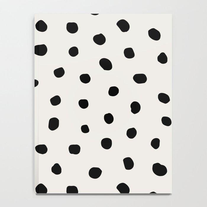Modern Polka Dots Black on Light Gray Notebook