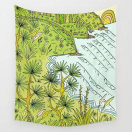 beach lookout of paradise in raglan new zealand // retro surf art by surfy birdy Wall Tapestry