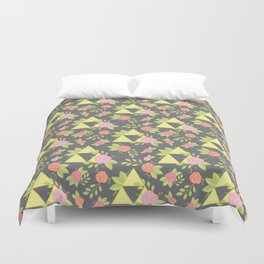 Garden of Power, Wisdom, and Courage Pattern in Grey Duvet Cover