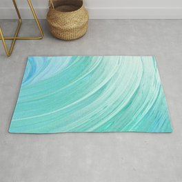 watercolor teal waves Rug