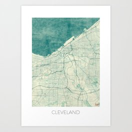 Cleveland Map Blue Vintage Art Print