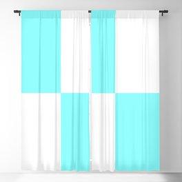 Four Squares (Aqua & White Pattern) Blackout Curtain