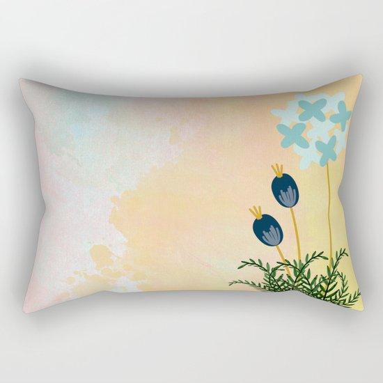 Acuarela Blue Flower 2 Rectangular Pillow