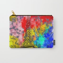 Eiffel Tower at Paris hotel and casino, Las Vegas, USA,with red blue yellow painting abstract backgr Carry-All Pouch