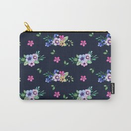 Navy Garden Flowers Carry-All Pouch