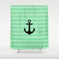popeye Shower Curtains featuring ANCHOR  WAVE by Electra