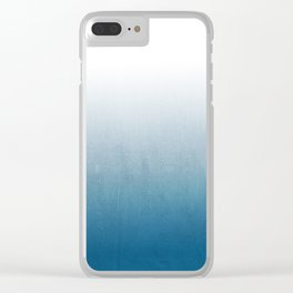 Urva - ombre indigo blue watercolor abstract minimalist home decor painting Clear iPhone Case