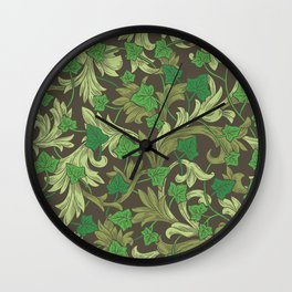 Green ivy with ornament on dark brown background Wall Clock