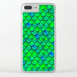 Green Blue Scales Clear iPhone Case